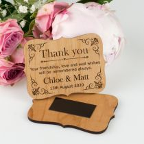 Custom designed engraved wedding guest thank you cards