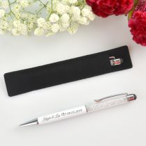 Engraved Crystal White Pen with Velvet Pouch