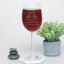 Rustic Wedding Wine Glass Personalised for Bridesmaid