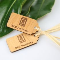 Engraved Corporate Logo on Wooden Gift Tags