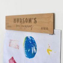 Personalised Engraved Wooden Kids Artwork Wall Display Hanger