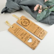 Personalised Laser cut and engraved wedding wooden save the date bookmarks