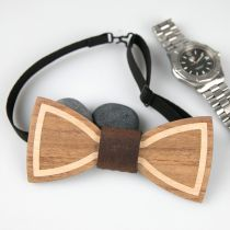 Hand Crafted Wooden Bow Tie with black strap