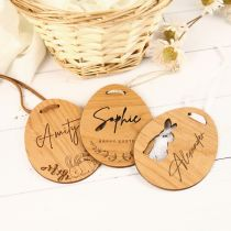 Personalised Name Engraved Wooden Easter Egg Basket Tag with Woven Cord, White Satin Ribbon and Tan Leather