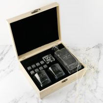 Personalised Engraved Christmas Wooden Gift Boxed Decanter, Scotch Glasses and Whiskey Stone Set