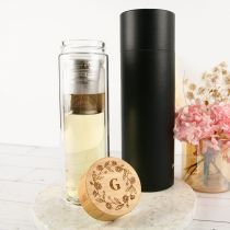 Personalised Engraved Mother's Day Engraved Wooden Lid Tea Infuser with Black Gift Box