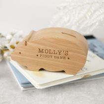 Personalised Engraved Wooden Pig Money Box Easter Present