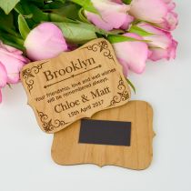 Personalised Engraved Royal Style Wooden Wedding Placecards with Magnet