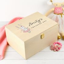 Personalised Colour Printed Wooden Treasure Keepsake Box for Girls