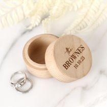 Personalised Engraved Natural Wooden Round Small Wedding Ring Box