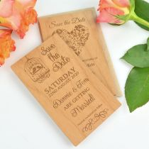 Personalised engraved wooden save the dates with kraft envelop