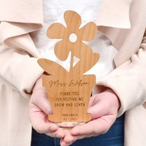 Personalised Laser Cut & Engraved Wooden Flower pot Teacher Christmas Present
