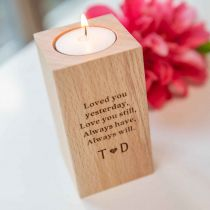 Personalised Engraved Wooden Tealight Holder Birthday Present