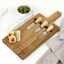 Personalised Engraved Acacia Wood Cheese Serving Board with Utensil Set Christmas Present