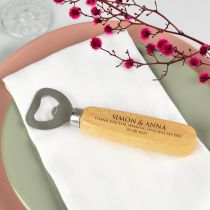 Personalised Engraved Wooden Handle Bottle Opener Wedding Favour