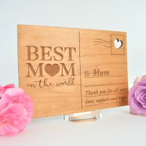 personalised Engraved Best Mum in the World Mother's Day Wooden Postcard Present