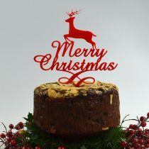 Laser Cut Red Reindeer Merry Christmas Christmas Pudding Cake Topper