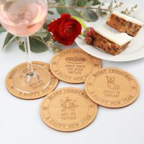 Personalised Engraved 4 Piece Christmas Wooden Coaster Gift Set