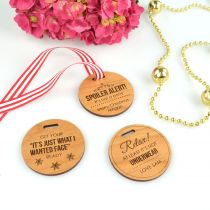Personalised Engraved Christmas Wooden Round Gift Tags for Present
