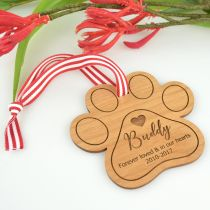 Engraved Wooden Pet Christmas Decoration