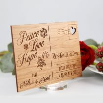 Personalised Engraved Wooden Christmas Postcard with Stand Present