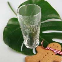 Personalised Engraved Santa's little Helper Christmas Soft Drink Water Glass Present