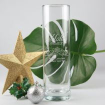 Personalised Engraved Christmas Glass Vase Present