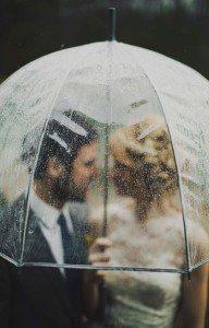 rain wedding day bride groom