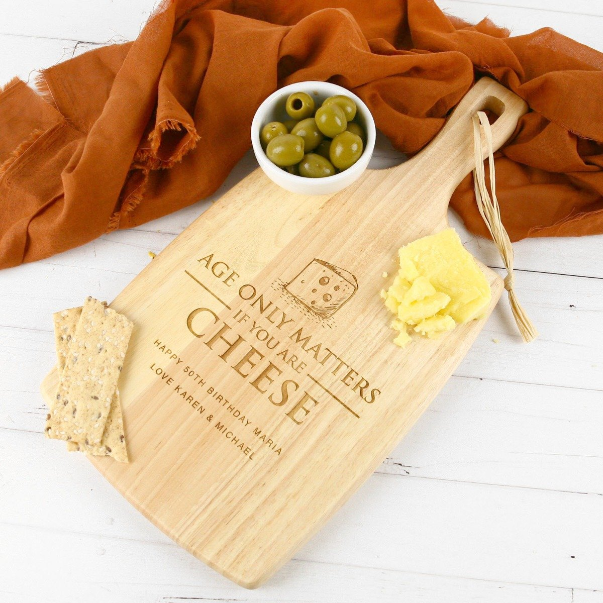 wooden engraved cheese board