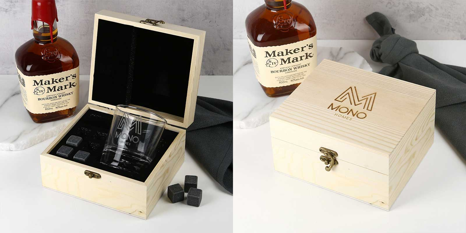 Engraved Corporate Wooden Gift Boxed Scotch Glass and Whiskey Stone Set